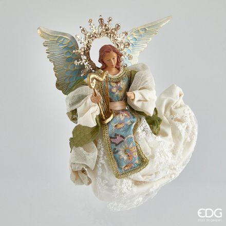ANGELO CON ARPA 50CM BLU/BIANCO
